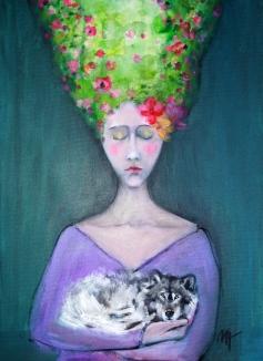 Mujer del bosque con lobo